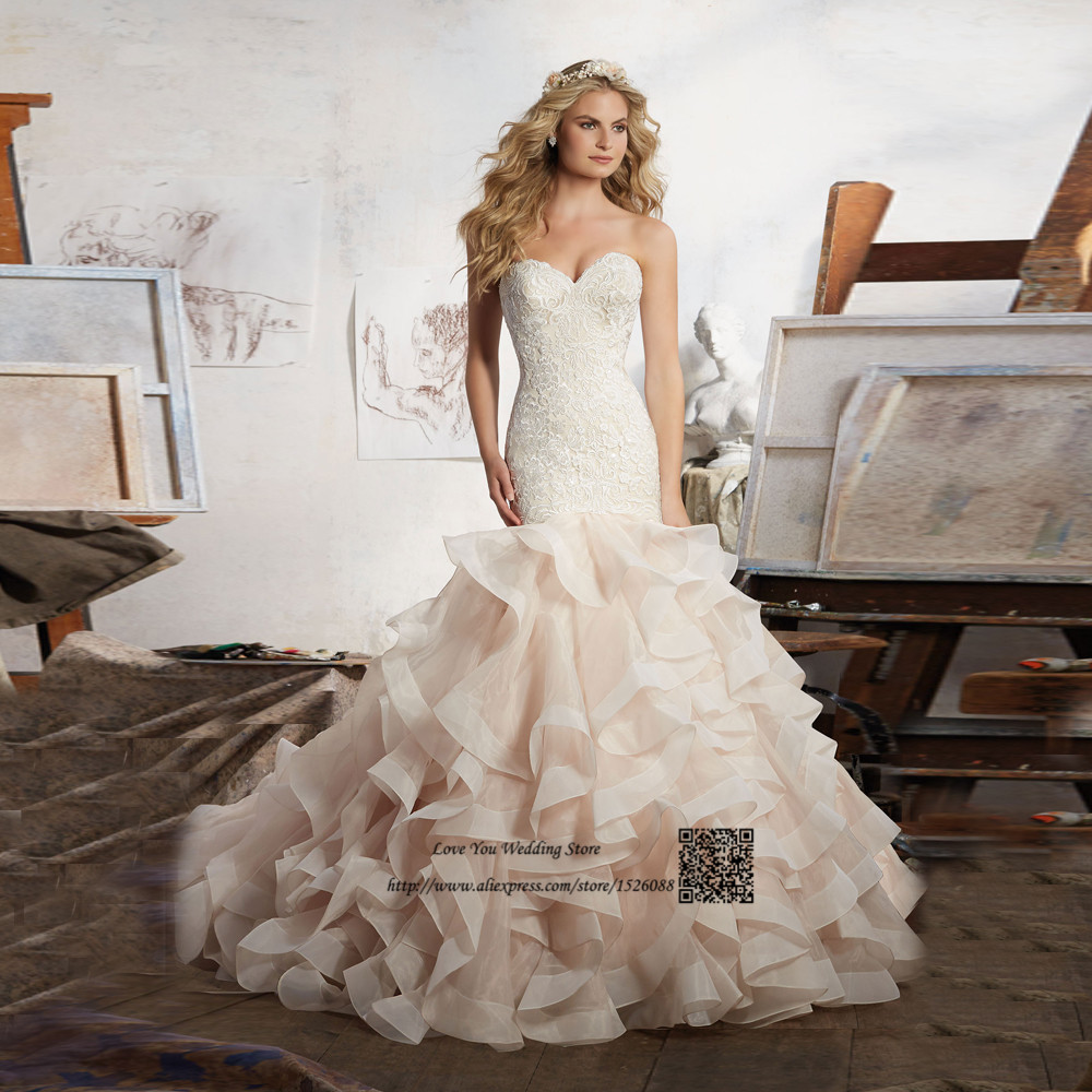 Wedding Gowns With Ruffles: Vestido De Casamento Vintage Wedding Dress Lace Ruffles