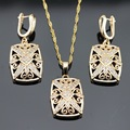 White Created Topaz AAA Zircon Gold Color Necklace/Pendant/Earrings Jewelry Sets For Women  Free Gift Box