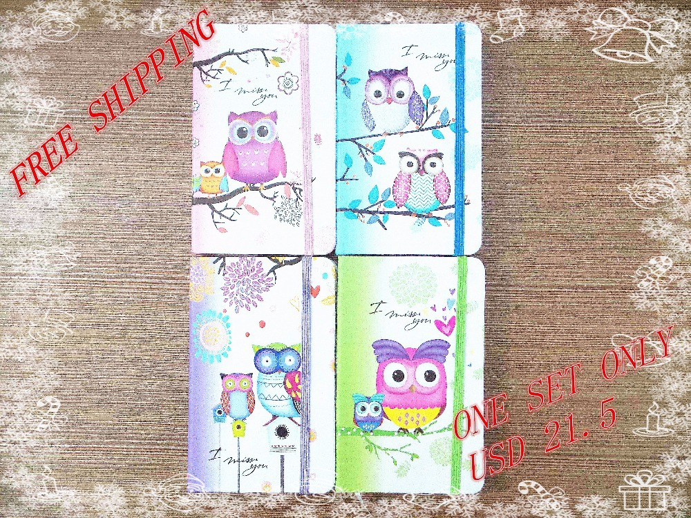 Gaya baru Mode Lucu Charming Mini Portabel owl hard cover Kertas Diary Notebook sekolah Memo Catatan Buku notepad satu set ...