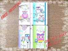 New style Fashion Cute Charming Mini Portable owl hard cover Paper Diary Notebook school Memo Note Book notepad one set 4pcs