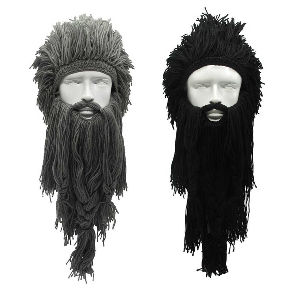 Creative Barbarian Beanie Hat Halloween Cosplay Costume Unisex Knitted Wig  Viking Beard Hat Winter Warm Funny 9793c16ddf4
