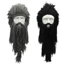 2492f5089e6 Creative Barbarian Beanie Hat Halloween Cosplay Costume Unisex Knitted Wig  Viking Beard Hat Winter Warm Funny