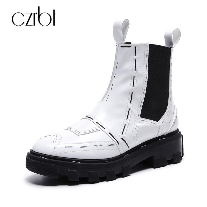 Фотография CZRBT Genuine Leather Women Boots Fashion Chelsea Boots Spring  Autumn Flat Platform Boots Cow Leather Round Toe Woman Boots