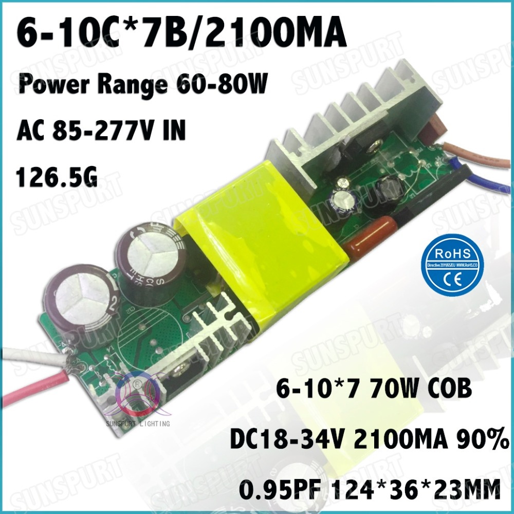2 Pieces Isolation 70W AC85-277V LED Driver 6-10x7 2100mA DC18-34V Constant Current LED PowerSupply For Floodlight Free Shipping