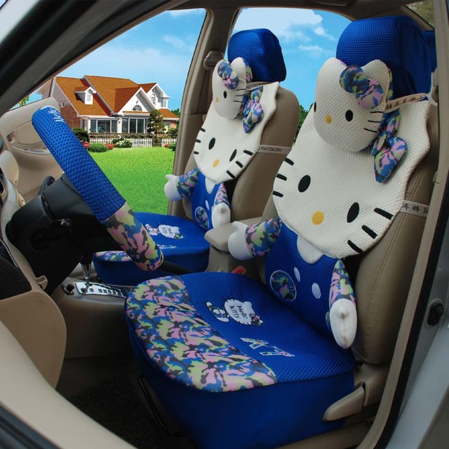 Hello Kitty Ice Silk 1set Blue Classical Cartoon Car Seat Cushion Steering Wheel Cover Universal Driver