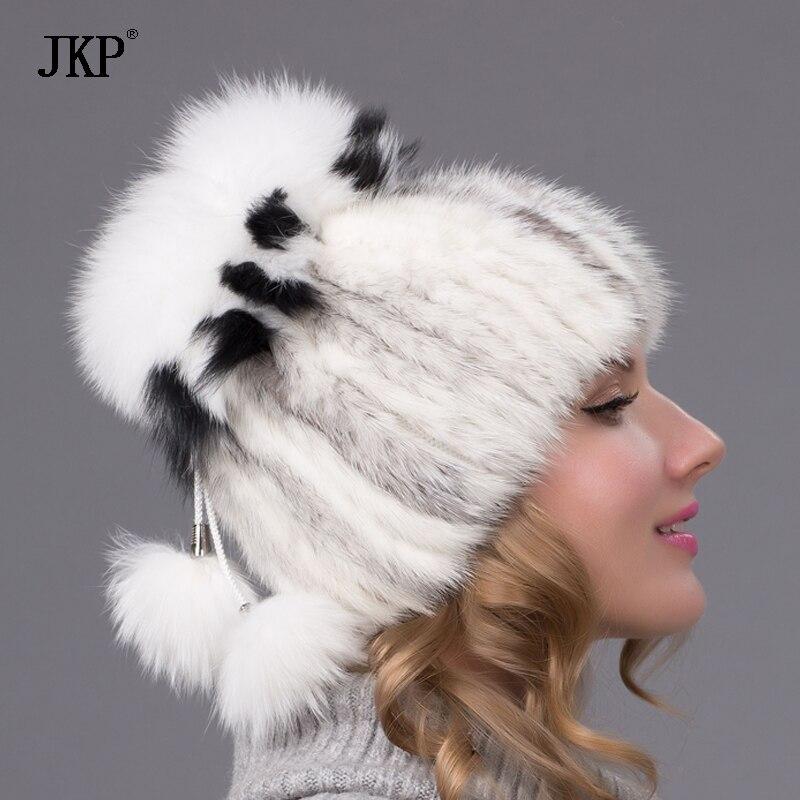 JKP chapeaux de fourrure des femmes tricotées chapeau de fourrure de - Accessoires pour vêtements - Photo 5