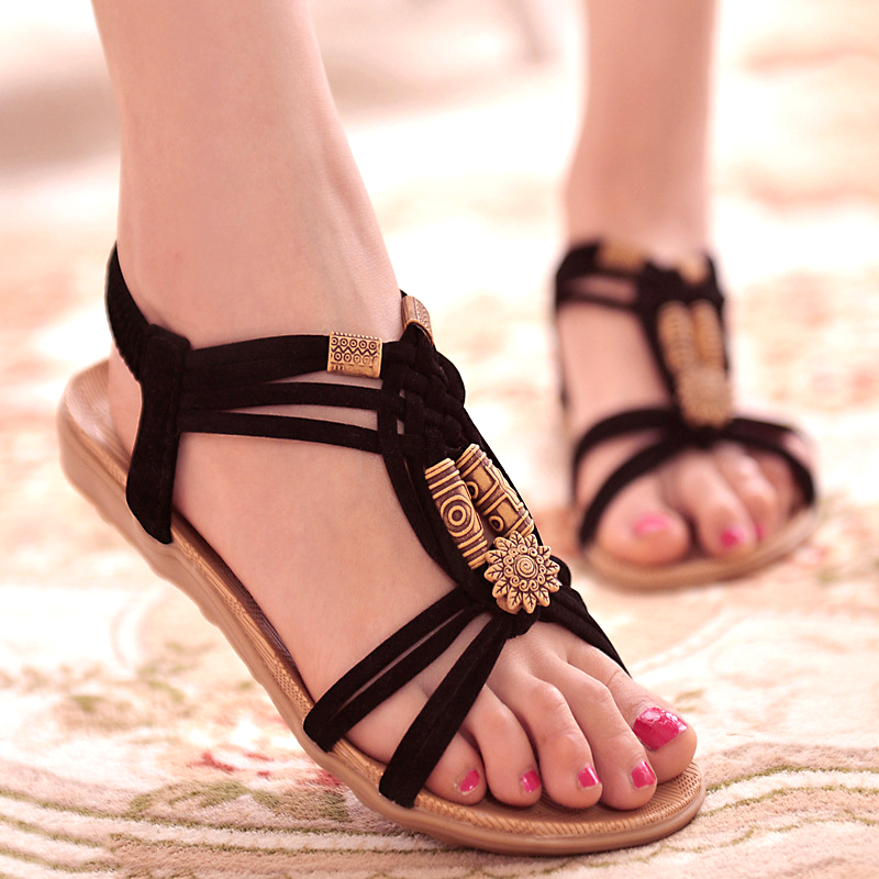 fashion women sandals gladiator sandals summer shoes woman flats casual shoes large size soft footwear flip flops gladiator sandals 2017 summer style comfort flats casual creepers platform pu shoes woman casual beach black sandals plus us 8