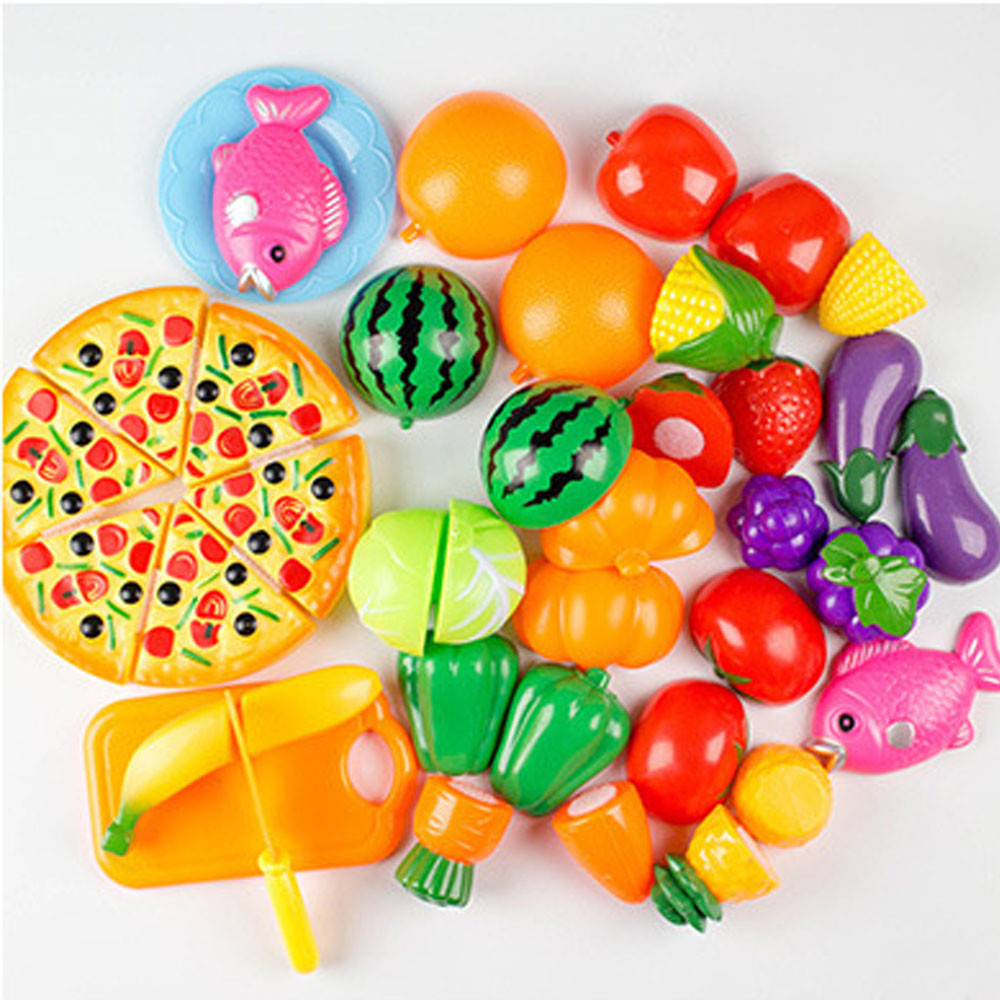 Gift For Kid 24 Pieces Pretend Play Kitchen Dinner Cutting Treats Fun Play Food Set Living Toys For Kids We Have Won Praise From Customers