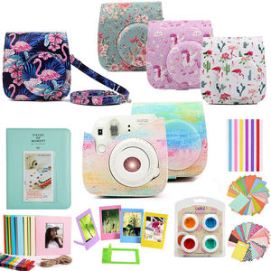 Image 1 - For Fujifilm Instax Mini 9 Mini 8 Instant Camera Painting / Rose Carrying Case Bag Cover PU Leather Pouch + Album + 10 in 1 Kit