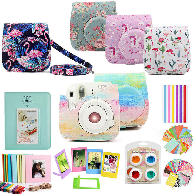 For Fujifilm Instax Mini 9 Mini 8 Instant Camera Painting / Rose Carrying Case Bag Cover PU Leather Pouch + Album + 10 in 1 Kit