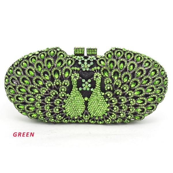 Pauw Avondtassen Animal Crystal Clutch Bag Banket Groen Tassen Elegante Vrouwen Handtas Avondtassen