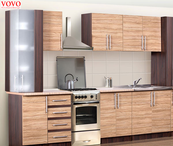 US $2200.0 |Integrated wood grain melamine kitchen cabinet-in Kitchen  Cabinets from Home Improvement on AliExpress