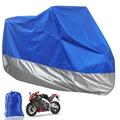 Universal Blue-Silver L Size 220*95*110cm Motorcycle Covering Waterproof Scooter Outdoor Cover UV Resistant Heavy Racing Bike