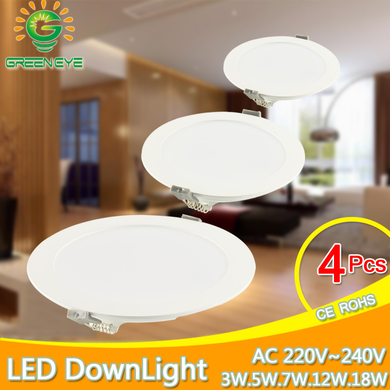 Ultra Thin LED Downlight 3w 5w 7w 12w 18w LED panel light Cold White Warm White Indoor Lighting Foyer Kitchen ceiling recessed