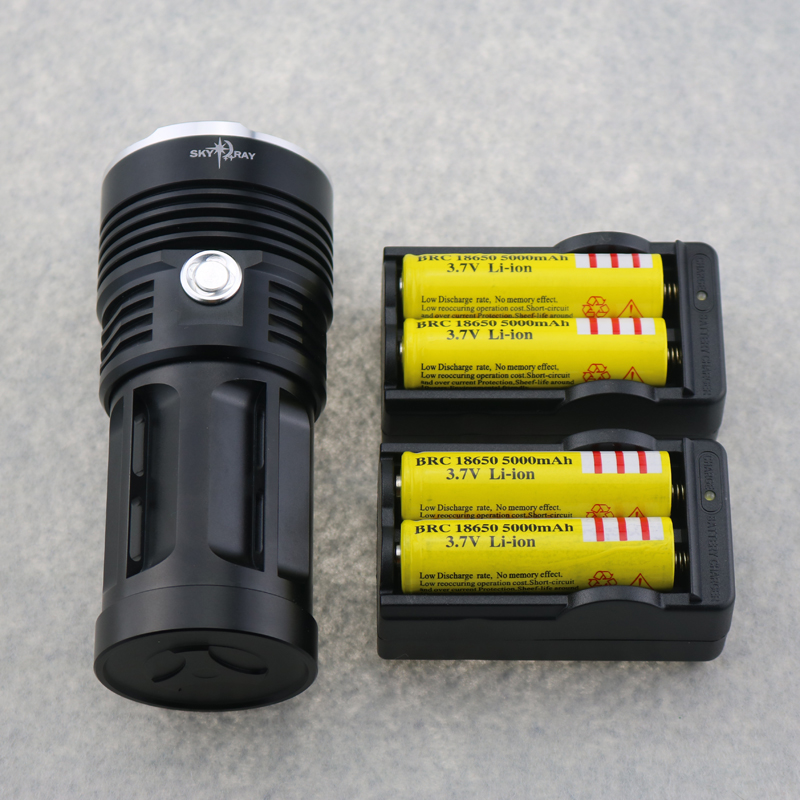 ФОТО Waterproof  23000 Lumen Hunting Flashlight 13x CREE XM-L T6 LEDs Tactical Torches SKY RAY Lamp + 4x 18650 Battery+ 2x Charger