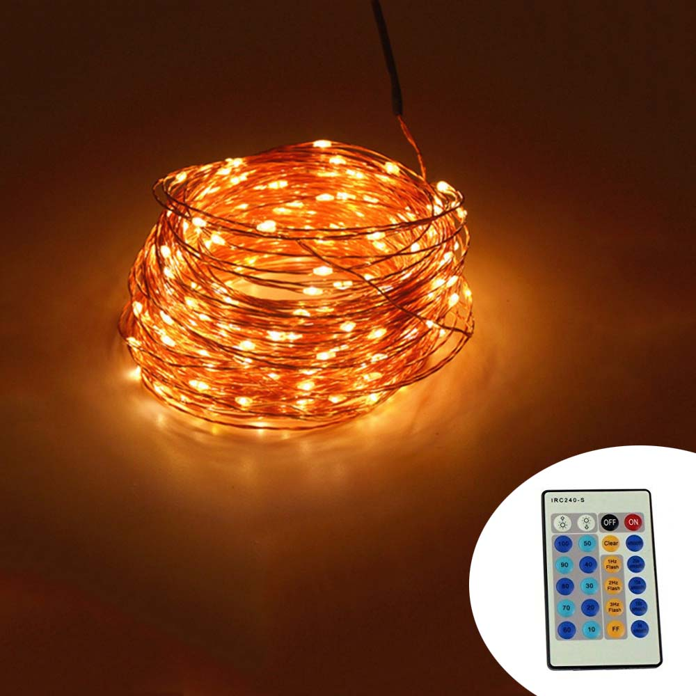IR Remote Control 30m 300 LED Outdoor Christmas Fairy Lights Warm White Copper Wire LED String ...