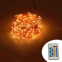 IR Télécommande 30 m 300 LED Fée De Noël En Plein Air Lumières Blanc Chaud Fil De Cuivre LED Chaîne Lumières Lumière Étoilée + puissance Adaptateur