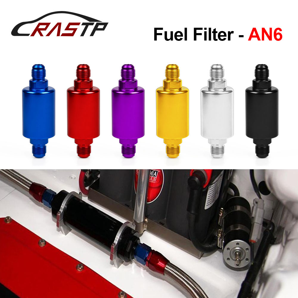 RASTP - Wholesale High Quality Universal Car Flow Performance Mini Oil Fuel Filter AN6 Male Inlet Outlet Have Stock RS-OFI002