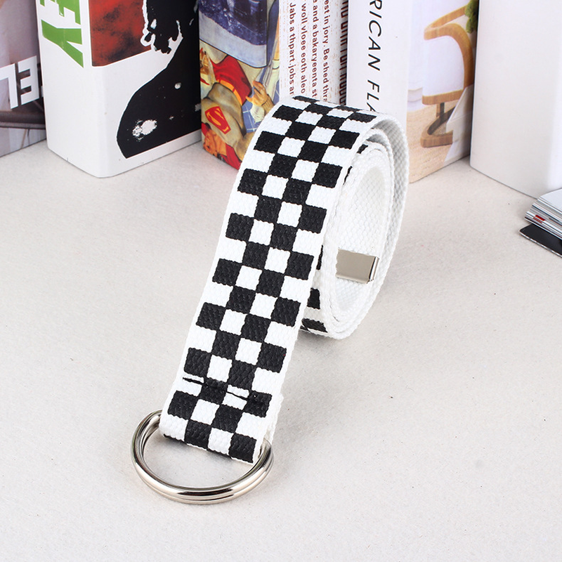 Canvas Checkerboard Belts Waist Belts for Men and Women Casual Checkered Waistband Black White Plaid Belt for Male and Female in Men 39 s Belts from Apparel Accessories