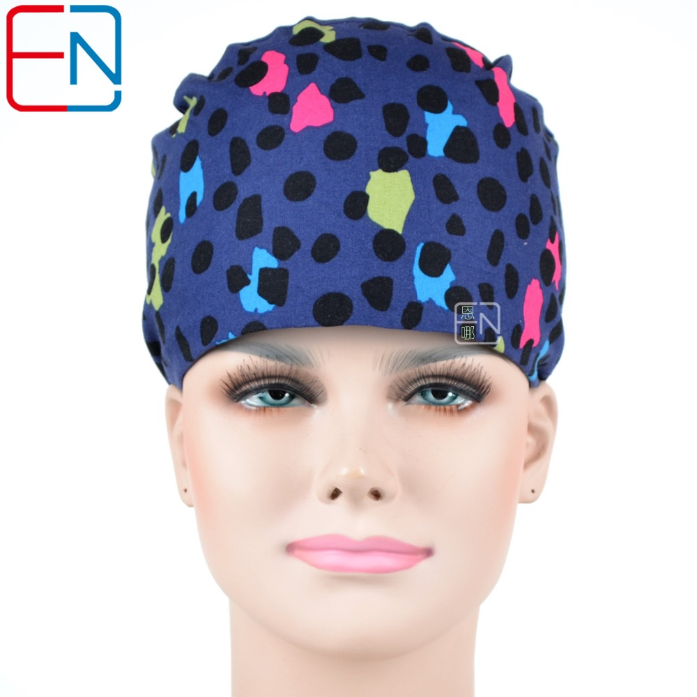Hennar Women Surgical Cap Masks Dental Doctor Nurse Cotton Blue Printing Work Cap Hospital Clinic Hats Mask Medical Accessories