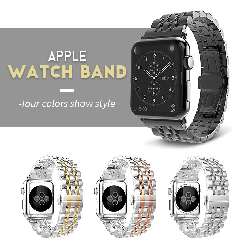 Stainless Steel Strap For Apple Watch Band 38mm 42mm 7 Links Watchband Smart Watch Metal Bracelet For IWatch Series 5 4 3 2 1