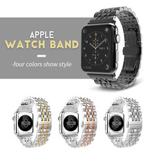 Stainless Steel Strap for Apple Watch Band 38mm 42mm 7 Links Watchband Smart Watch Metal Bracelet for Apple Watch Series 4 3 2 1