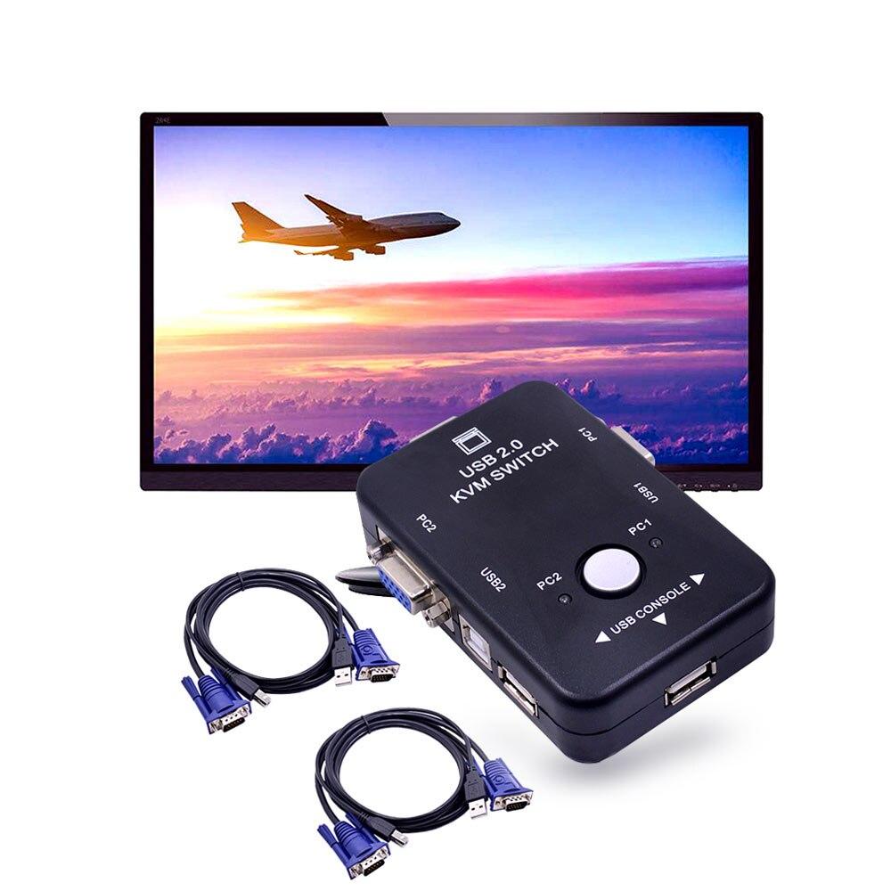 Ingelon USB Hub 2 Port USB 2.0 KVM VGA Switch Box And Cables for 2 PC Printer Mouse Keyboard Monitor Dropshipping USB Adapter (2)