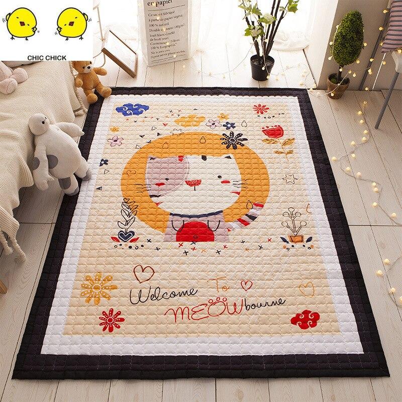 Large 1.95M Kid Soft Carpet Rugs Children Play Mat Crawling Mat Storage Bag Kids Toys Cartoon Cat Monkey  Mat