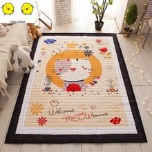 Large 1.95M Kid Soft Carpet Rugs Children Play Mat Crawling Storage Bag Kids Toys Cartoon Cat Monkey