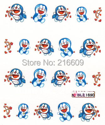 Nail Decal 20Sheets/Lot Mix Doraemon Cartoon 5 Designs Nail Water Sticker DIY Nail Art Applique Stikcer Decoration BLE1867-1891
