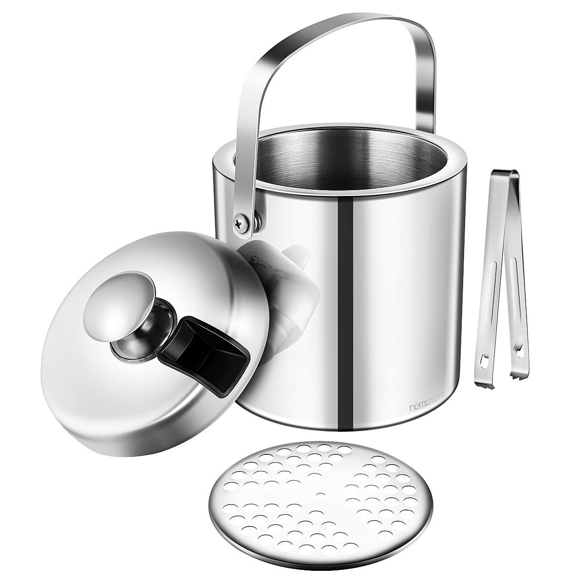 Hemoton 1.3L Ice Bucket with Lid and Tongs Stainless Steel Double Wall Home kitchen Bar Accessory Party Outdoor picnic Gift Set