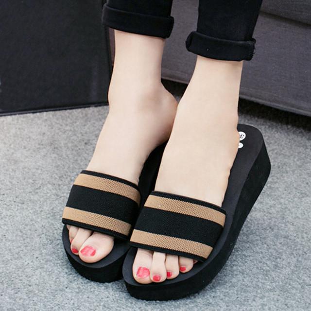 fe4a1904b0c ... Women Summer Flip Flops Flat Shoes Ladies EVA Sandals Slipper Indoor  Outdoor Flip-flops Beach ...