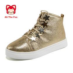 2018 модные Повседневное зимняя обувь для девочек легкие мягкие для девочек детская обувь дышащая кожа на шнуровке большие дети Туфли без