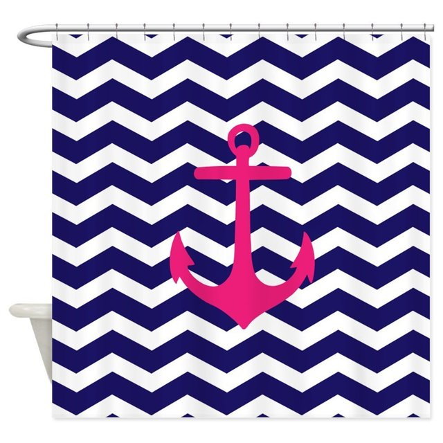 Our House Hot Pink Anchor Blue Chevron Decorative Fabric Shower Curtain Set And Floor Mat Non Slip Doormat Rug