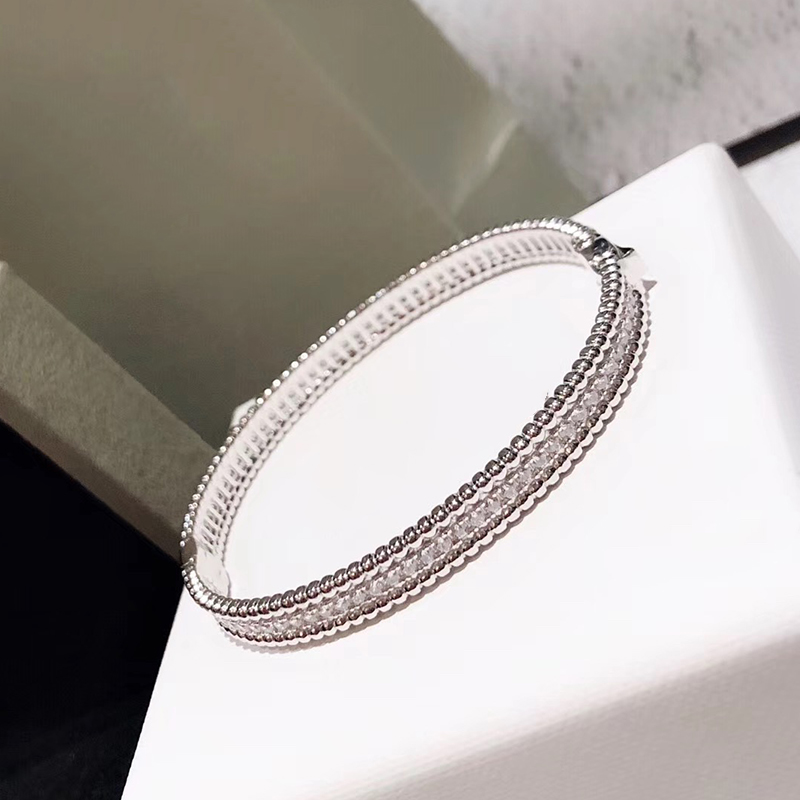 Brand Pure 925 Sterling Silver Jewelry For Women Full Stone Thin Silver Bangle Clover Bangle Wedding