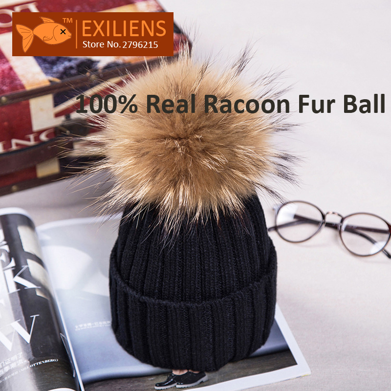 Girl 100% Real Racoon Fur Pom pom Lady's Beanies Wool Winter Hat For Women Warm Knitted Bobble Hats Caps Hip Hop Skull Cap roomble люстра racoon white