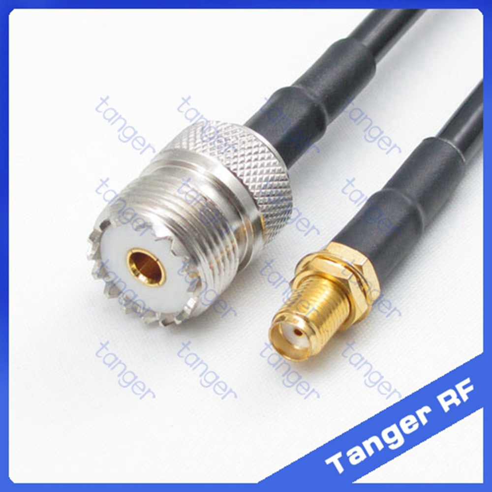 Hot sale UHF female jack SL16 SO239 to SMA female jack straight RF RG58 Pigtail Jumper Coaxial Cable 50cm 20inch High Quality цена