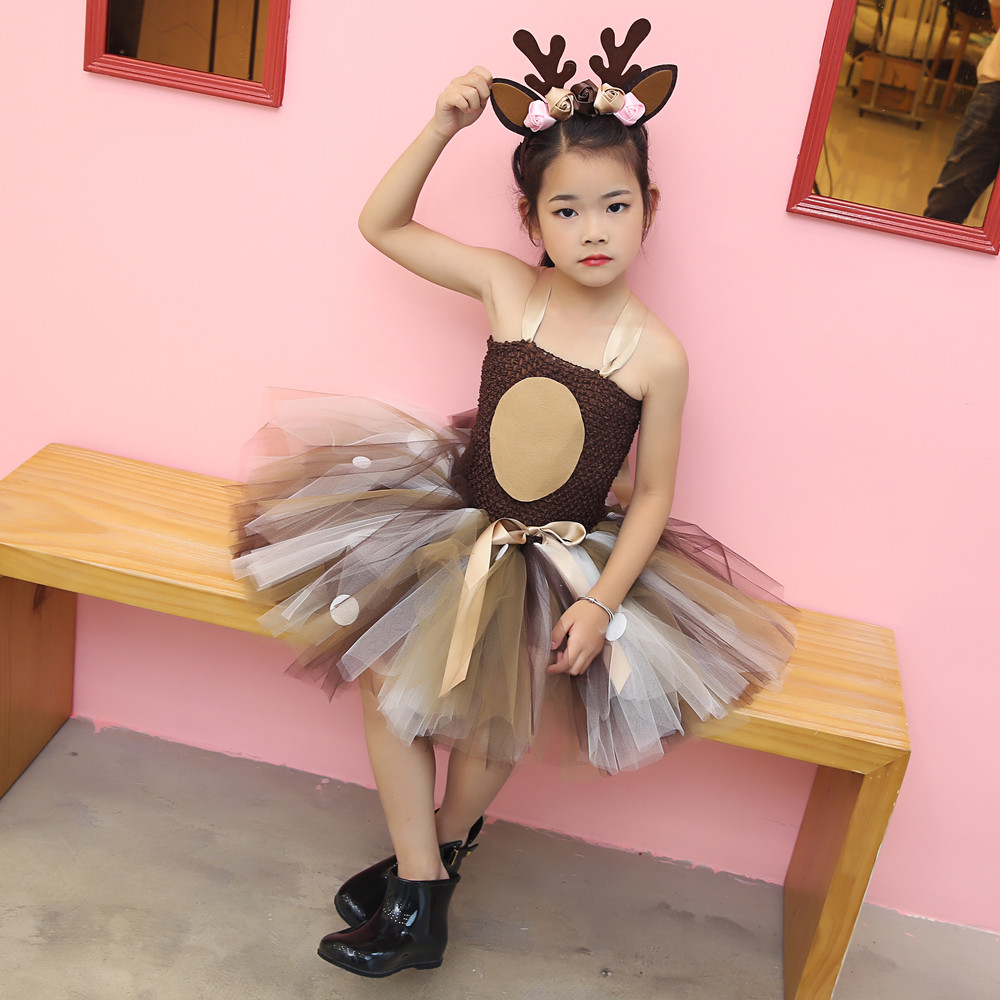Girls Reindeer Dress Up Costumes Children O-neck Pattern Solid Dress Christmas Birthday Party Kids Dresses for Girls Ball Gown (16)