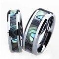 2 шт. 6 ММ/8 ММ Мужчины Женщины Tungsten Carbide Обручальное Кольцо Обручальное Кольцо Полированный Наборы для Пар abalone кольцо альянс анель