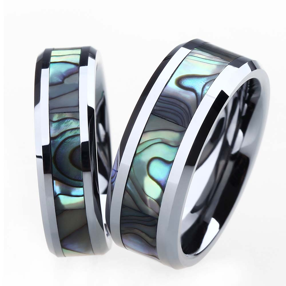 2pcs 6mm 8mm men women tungsten carbide ring engagement for Tungsten carbide wedding ring sets