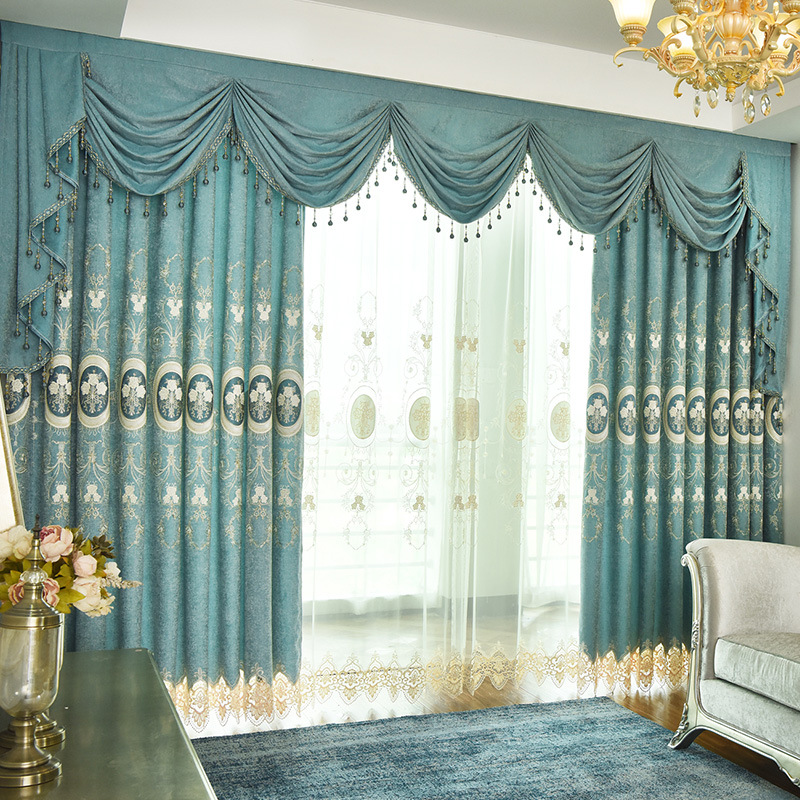 Fresh American Simple Modern Xuenier Embroidery Curtains For Living Dining Room Bedroom.