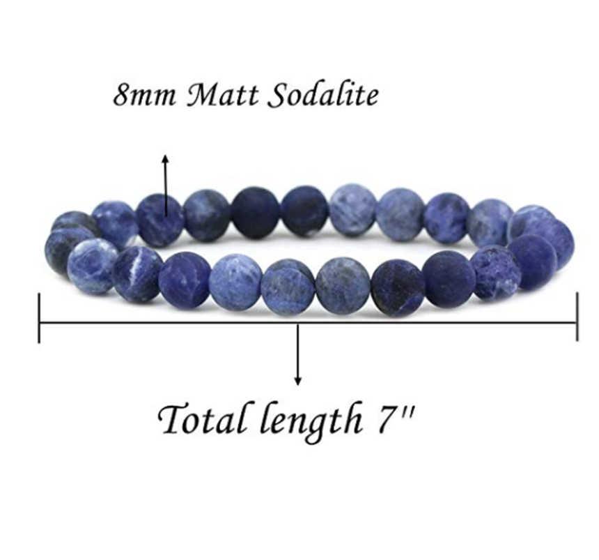 "YuTeng Semi Precious Stone 6/8/10 มม. รอบสร้อยข้อมือ 7 ""Unisex LL804-1"