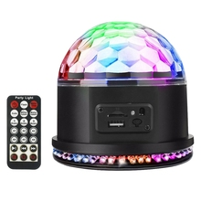 Rgb Mp3 Crystal Magic Ball Sound Activated Dj Lights Mini Rotating Strobe Stage With Remote Control For Home Party Gift
