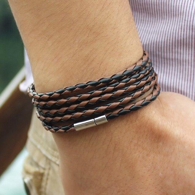 New Style! 2018 Latest Popular 5 Laps Leather Bracelet For Men Charm Vintage Black Bracelet Free Shipping!10 Color Choose