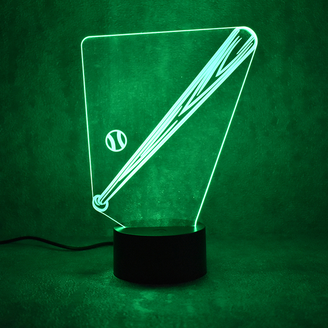 Novelty Visual Colorful Light Fixture Usb Table Lamp Creative Sleeping Night Mlb Led Baseball Bat