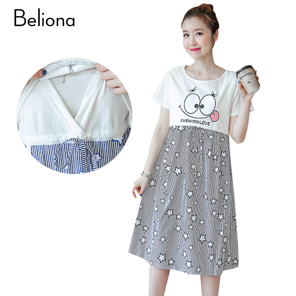 Cute maternity clothes promotion shop for promotional cute false two pieces star print nursing dress cute maternity clothes 2017 summer cartoon print pregnancy clothing for breastfeeding ombrellifo Choice Image