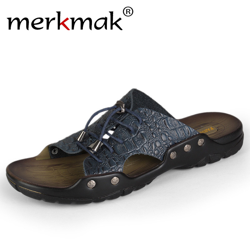 Merkmak 2018 New Men Genuine Leather Holiday Beach Shoes Flip Flops Men's Casual Flat Shoes Sandals Summer Slippers For Men merkmak 2018 new men genuine leather holiday beach shoes flip flops men s casual flat shoes sandals summer slippers for men