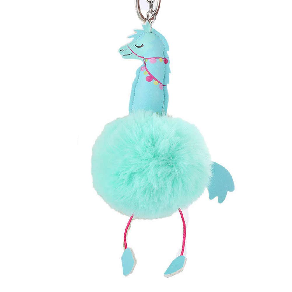Cavalo bonito Faux Fur Bola Chaveiro Pingente Chaveiro Saco Chave Do Carro Saco Titular Decoração Feminino Encantos