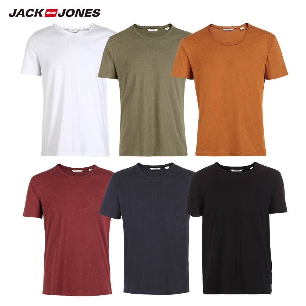 975bf10759 US $5.38 61% OFF|JackJones Men's Cotton T shirt Solid Colors t shirt Top  Fashion tshirt More Colors 3XL 2019 Brand New Shirt Menswear 2181T4517-in  ...