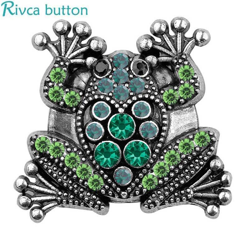 MixColor 3pcs/lot Frog Rivca Snap Button DIY 18mm Frog Snap Button for women Fit Charm leather alloy fashion Bracelet jewelery